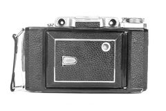 Free Old, Antique Pocket Camera. The Black Camera Is Covered With A Black Leather Handle. Front View On A White Background Stock Photo - 116998850