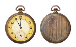 Old antique pocket watch isolated on white Royalty Free Stock Photos