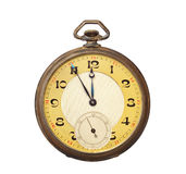 Old antique pocket watch isolated on white backgro Royalty Free Stock Photos