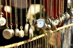 Old antique pocket watch on the market Royalty Free Stock Photo