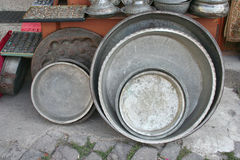 Old antique pots at bazaar Stock Photo