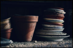 Old antique pots and pans Royalty Free Stock Photography