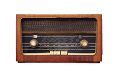 Old antique radio. Old antique wooden radio of my grandparents - isolated on white background Stock Image