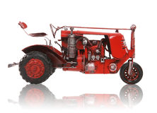Old Antique Red Tractor Stock Photo