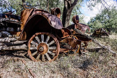 Old antique rusted truck. Remnants of an old rusted dilapidated truck in a paddock Royalty Free Stock Images
