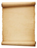 Old antique scroll paper. Old brown antique scroll paper isolated on white background Stock Photo