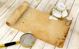 Old antique scroll paper on table stock illustration