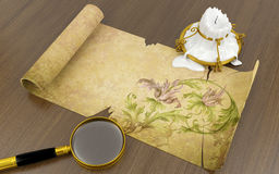 Old antique scroll paper Stock Images