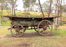 Old antique settlers horse drawn wagon. In country Australia Stock Photography