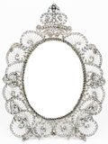 Old antique silver frame. Over white background Royalty Free Stock Image