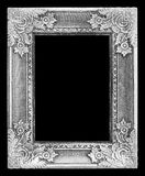 Old antique silver frame on the black. Background Royalty Free Stock Image