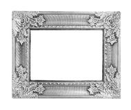 Old antique silver frame isolated on white background Royalty Free Stock Photo