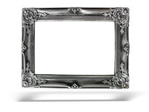 Old antique silver frame over white background Royalty Free Stock Images