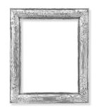 The Old antique silver frame on the white. Background Royalty Free Stock Photography