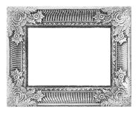 Old antique silver frame on the white background Royalty Free Stock Photos