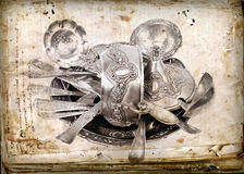 Old antique silverware Stock Image