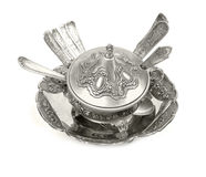 Old antique silverware Royalty Free Stock Photo