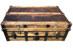 Old Antique Suitcase. Well traveled, old, worn and battered suitcase Royalty Free Stock Image