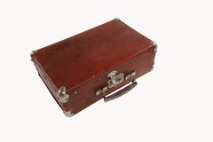 Old antique suitcase with scuffed isolated on white background Royalty Free Stock Images