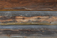 Old antique unpainted wooden logs wall texture Stock Photo