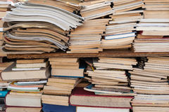 Old antique used books over and over Stock Image