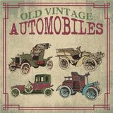 Old Vintage Antique Automobiles. Old Antique Vector Automobiles Drawing Stock Photography