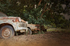Old antique vehicle car in vintage retro colour style Royalty Free Stock Image