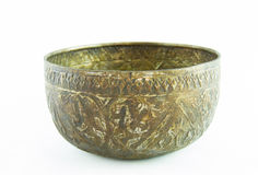 Old antique vintage brass bowl Stock Photo