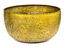 Old antique vintage bronze, brass bowl Stock Photos