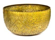 Old antique vintage bronze, brass bowl Stock Photos