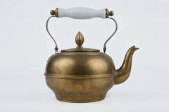 Old and antique vintage copper coffee pot. On isolated white background Royalty Free Stock Image