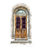 Old Antique Vintage Door - Illustration, Painting - Isolated Royalty Free Stock Photos