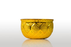 Old antique vintage gold, brass bowl Stock Images