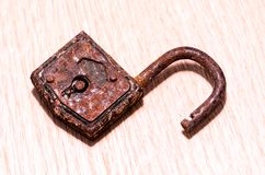 Old Antique Vintage Padlock. On a White Background royalty free stock image