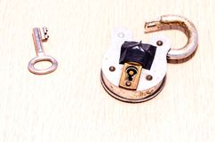 Old Antique Vintage Padlock. On a White Background stock images