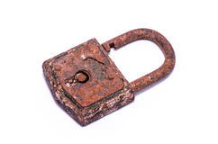 Old Antique Vintage Padlock. On a White Background royalty free stock photo