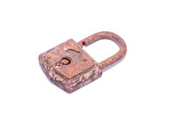 Old Antique Vintage Padlock. On a White Background stock photos