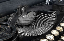 Old antique vintage portable typewriter, close-up of the mechani Stock Photos