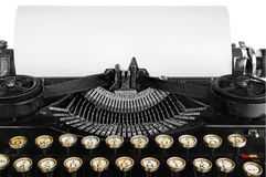 Old antique vintage portable typewriter, close-up of the mechani Royalty Free Stock Photography
