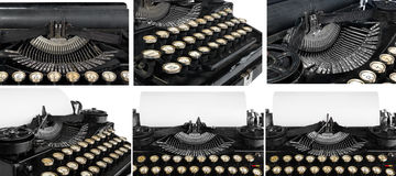 Old antique vintage portable typewriter, close-up of the mechani Stock Image