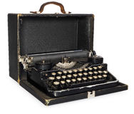 Old, antique, vintage, portable typewriter in an open leather ca Stock Images