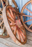 Old Antique Wagon Wheels Stock Photo