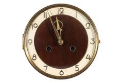 Old antique wall clock isolated on white Royalty Free Stock Images