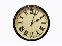 Old antique wall clock isolated on white Old antique wall clock Royalty Free Stock Photos