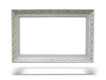 Old antique white wooden picture frame Royalty Free Stock Photography