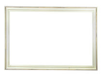 Old antique white wooden picture frame with empty Stock Photo