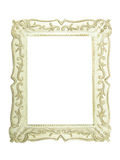 Old antique white wooden picture frame with empty Stock Image