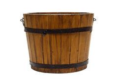Old Antique Wood Water Bucket Isolated Royalty Free Stock Photo