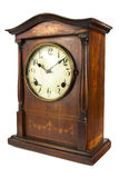 Old antique wooden clock on white Royalty Free Stock Image
