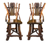 Old antique wooden handwork chairs isolated Royalty Free Stock Photos